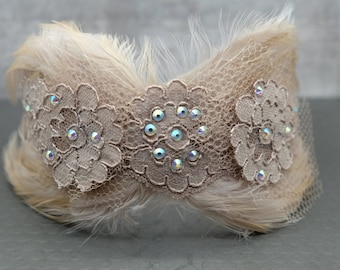 Buff Flapper Fascinator with Lace & Crystals Roaring 20s, Flapper, Old Hollywood, Great Gatsby, Downton Abbey
