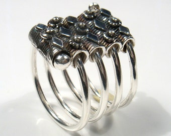 Silver rectangular oxidized filigree ring on silver spiral- statement ring.