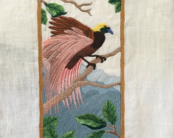 Bird of Paradise Machine Embroidery Panel Sewing Quilting Home Decor