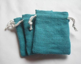 "35 Turquoise Blue Burlap bags 3"" X 4"" for candles handmade soap wedding"