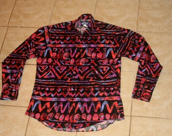 Wrangler Bright Multi Color All Over Print Western Button Up Large Shirt Vintage 1990s