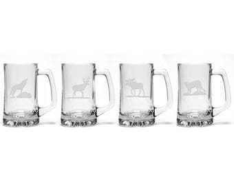Wildlife Beer Mugs / Set of 4 / Ideal for Groomsman / Free Personalization / Personalized Glass / Howling Wolf Beer Mug / Personalized Gift