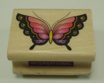 Butterfly Wood Mounted Rubber Stamp From Combined Resources International