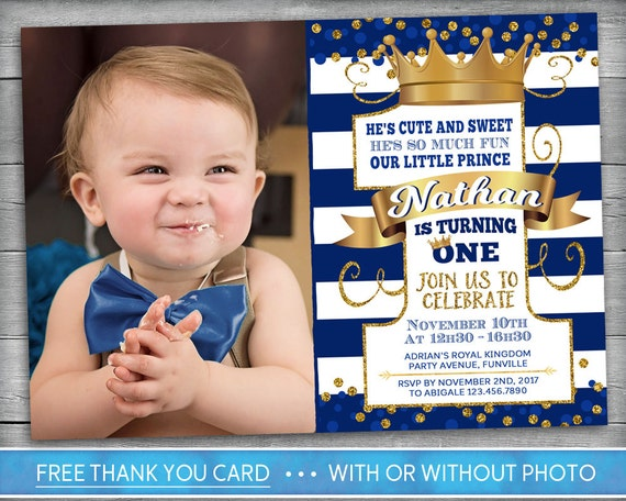 Prince invitation little prince first birthday number one prince invitation little prince first birthday number one boy first birthday invite navy blue gold crown photo invitation filmwisefo Images