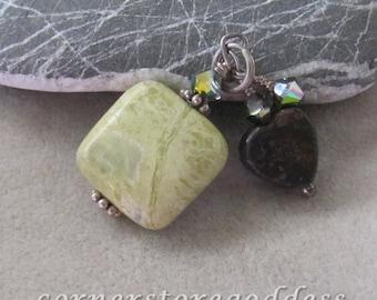 Yellow Jasper Pyrite Gemstone Optimism Healing Charm Pendant by Cornerstoregoddess