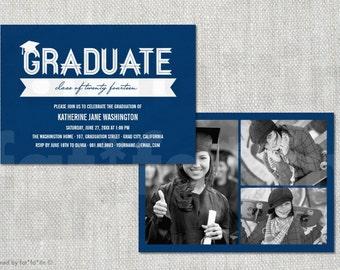 Classic Ribbon Graduate Printable Graduation Party Invitation | Custom Modern Class of 2016 Grad Invite Photo Announcement PRINTED / DIGITAL