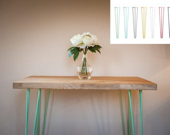 Solid Oak Hairpin Dining Table 2-4 Person Industrial Vintage Style COLOUR OPTIONS:Black,White,Red,Orange,Yellow,Sage Green,Duck Egg Blue,