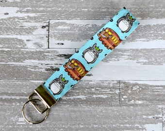 Totoro Wristlet Key Fob - Blue Anime Keychain / My Neighbor Totoro Fabric / Ghibli Wristlet / Anime Cotton Key Fob / Geek Girl Gift