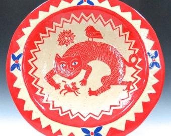 Awesome Art Pottery BIRDBATH - CAT Mouse Bird - Artist Handmade - Outdoors Patio Deck - Choose Your Colors - Ceramic Bird Bath Useful