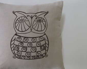 Pillow Cover - Cushion Cover- Owl - 16 x 16 inches - Choose your fabric and ink color - Accent Pillow