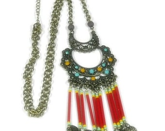 Bohemian Necklace, Long Chandelier Fringe Necklace, Layering Necklace, Boho Jewelry, Red, Gypsy, Chain, Stick Pendant, Layer, Statement