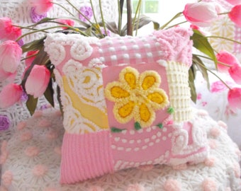 SWEETEST COTTAGE HOME Decor Vintage Chenille Patchwork Pillow