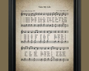 Take My Life And Let It Be Hymn Print - Sheet Music Art - Hymn Art - Hymn Sheet - Home Decor - Music Sheet  Gift Instant Download #HYMN-052