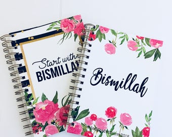 A5 Islamic Notebook - start with Bismillah - pink floral & stripes
