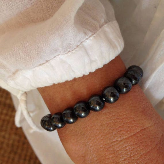 crystal healing jewelry, magnetic hematite bracelet, yoga jewelry, gift for her
