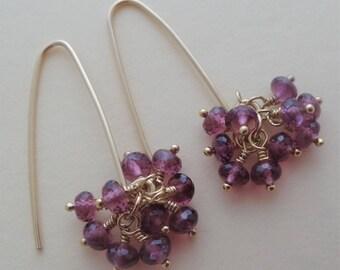 Red gemstone earrings, red and gold earrings, garnet earrings, red cluster earrings garnet cluster drop earrings, rhodolite garnet, handmade