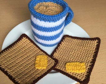 Cup of Tea and Buttered Toast, Tea Cup, Coffee Cup, Slices of Buttered Toast, Hand Crocheted, Striped Cup, Play Food, Shabby Chic, Mug Tea