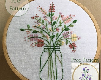 NEW Guide -NEW Bonus Free Pattern_Bouquet In The Bottle_perfect for gift_PDF files_instant down load files_Hand Embroidery Pattern