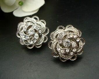 Bridal Stud Earrings Rhinestone Statement crystal earrings Bridal Earrings Rhinestone Stud Earrings Wedding Rhinestone Earrings ROSELANI