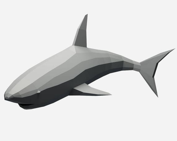 papercraft shark d paper craft model low poly sculpture papercraft shark 3d paper craft model low poly sculpture animal trophy pdf template pattern kit diy home decor polygonal pepakura gift
