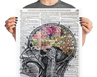 Anatomical Brain, 16x20 Anatomical Flower, Flower Head, Head of Flowers, 16x20 Poster, Poster Print, Anatomical Poster, Human Head Print