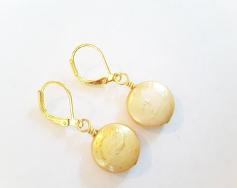 Bright Yellow Freshwater Pearl Discs . Leverbacks . Earrings