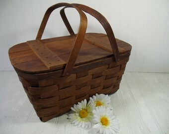 Picnic Hamper with Two Handles Primitive Wooden Woven BasketVille Vermont - Vintage BoHo Shabby Rustic Dark Wood Basket with Plank Lift Lid
