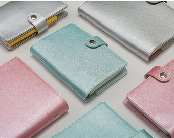 A5 Faux Leather Organizer Planner Notebook Binder PU Metallic Color Pink Blue Silver NEW