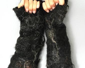 Black raw fleece fingerless gloves, shaggy hand felted animal fancy dress costume accessory in black Shetland wool