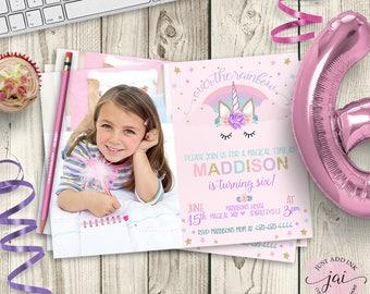 Printable Rainbow Birthday Invitations ~ Unicorn birthday invitation unicorn party invitation rainbow