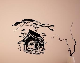 Wall Vinyl Decals Japanese Landscape Decal Sticker Home Interior Decor Art Mural Z691