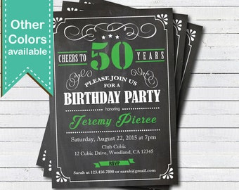 Green 50th birthday invitation. Adult, man cheers to 50 year. Any age. Chalkboard 30th 40th 50th 60th 70th birthday digital invite. AB135