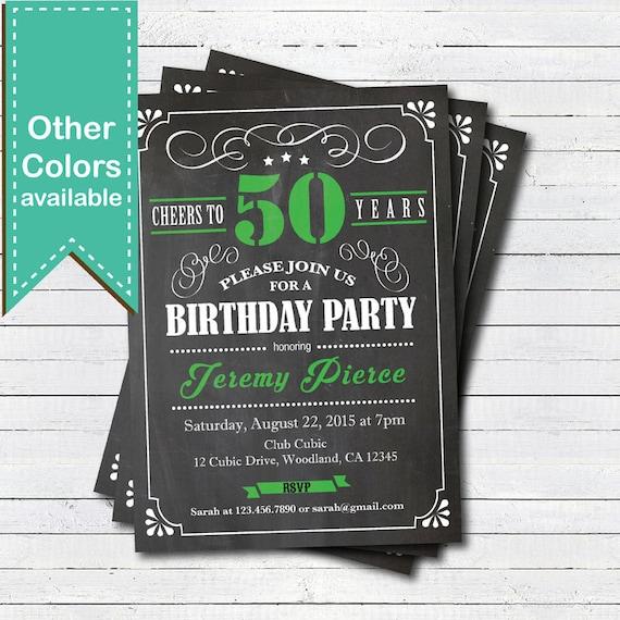 Wonderful Vert 50e invitation anniversaire. Adultes homme Bravo à 50 GI94