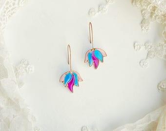 Flower earrings, Fairy flowers, Fairy earrings, Blue earrings, Flowers, Wildflower earrings, Aster earrings, Iris earrings, Violet earrings