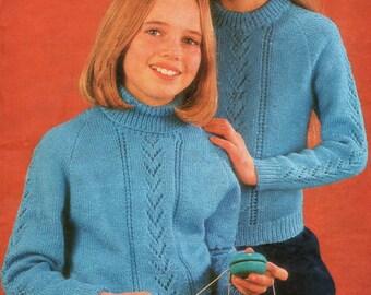 Knitting Pattern PDF Girls 4 ply Round Neck Sweater