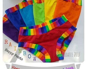 Kids Happy Pants, set of 7 Rainbow briefs girls boys unisex underwear bright handmade