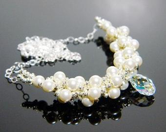 "Bridal Swarvoski Cream Pearl and Crystal AB Beadweaving Necklace Sterling Silver - ""Devotion"""