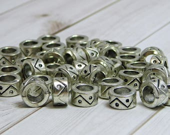 10x5mm - Large Hole Beads - Metal Beads - Silver Spacer Beads - Pewter Beads - Metal Rondelle - 12pcs - (183)