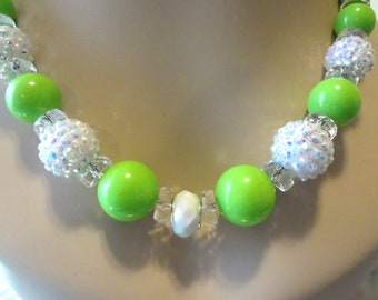 Sublime Lime Beaded Necklace with Free Matching earrings  T1008