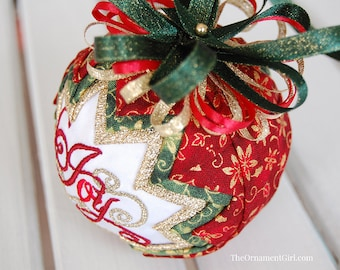 """TUTORIAL - Quilted Ornament pattern - Learn to make a quilted """"Snow Globe"""" ornament"""