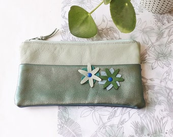 Leather pouch, cosmetic bag, pencil case, real leather, soft and supple leather, pastel colors leather, leather flowers, cotton lining, zip