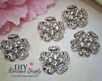 Small Flower Rhinestone Buttons Metal Crystal Embellishment for Baby Headbands Hair bow centers flowers centers 5 pcs 18mm 908023