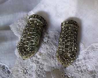 Mid Century Rhinestone Shoe Clips Pair