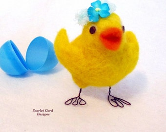 Easter Chick, Needle Felted Chick, Spring Yellow and Blue Felted Chicken Sculpture