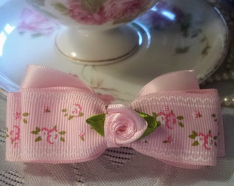 Floral Light Pink Ribbon Hairbow