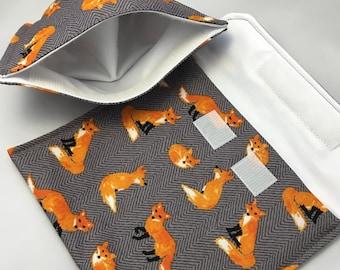 Chevron Foxes Reusable Sandwich Bag, Reusable Snack Bag