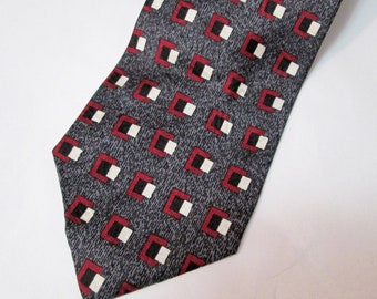 Vintage XMI 325 Series Gray & Burgundy Geometric Silk Tie