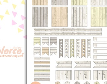 VINTAGE WOOD weekly kit Printable Planner Stickers Erin Condren ECLP Happy Planner Instant Digital Download
