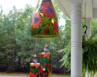 """Wind Chime, """"Peachy Pink & Purple"""" , made from recycled wine bottle -  fashioned  into a Wine-Chime!"""