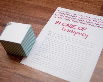 In Case of Emergency Sheet PRINTABLE